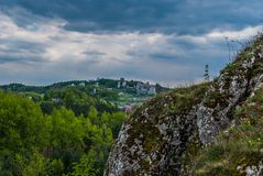 View of the ruins castle. View from rocks on the ruins of the castle Stock Images