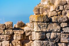 View of the ruins of the castle of Siuran, Tarragona, Catalunya, Spain. Close-up. Stock Images