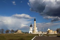 View of the ruins of the Cathedral Mosque in the Bulgarian State Historical and Architectural Museum-Reserve. Tatarstan, Russia royalty free stock photos