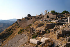 View on ruins of cities. Temple of Trajan, Pergamon, Turkey royalty free stock photo