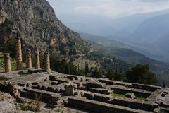 A view of the ruins at Delphi in the mountains of Greece Stock Images