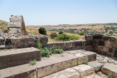 View from the ruins of the Dir Aziz Synagogue, built in the Byzantine period, at the beginning of the sixth century AD  to the Gol. An Heights, Israel Royalty Free Stock Images
