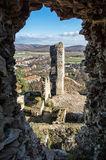 View from the ruins of Divin castle, Slovakia stock photo