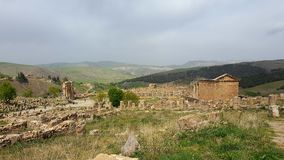 View of the ruins of djemila. Roman city landscape built 2000 years ago Stock Images