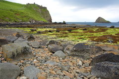 View of the ruins of Duntulm Castle and Tulm Island from the colorful beach of Duntulm Bay in the northern part of the Trotternish Royalty Free Stock Photo