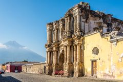 View at the ruins of El Carmen church in the streets of Antigua Guatemala. View at the ruins of El Carmen church in Antigua Guatemala royalty free stock photos