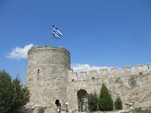 View of Ruins of fortress of Kavala, East Macedonia and Thrace, Greece stock photos