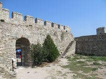 View of Ruins of fortress of Kavala, East Macedonia and Thrace, Greece. Creece, Kavala - Sertember 10, 2014 stock photos