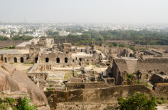 Ruins of Golcanda, India. View of the ruins of Golcanda Fort, Andhra Pradesh, India.  The medieval fort was built in the Mughal Empire and still dominates part Royalty Free Stock Photos