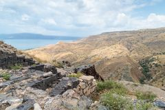 View from the ruins of the Greek - Roman  city of the 3rd century BC - the 8th century AD Hippus - Susita to Golan Heights, Israel. View from the ruins of the Royalty Free Stock Photo