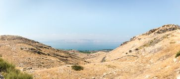 View from the ruins of the Greek - Roman city of the 3rd century BC - the 8th century AD Hippus - Susita to Golan Heights, Israel stock photos