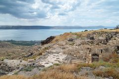 View from the ruins of the Greek - Roman city of the 3rd century BC - the 8th century AD Hippus - Susita to Sea of Galilee - Kiner. Et, Israel Royalty Free Stock Images