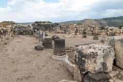 View from the ruins of the Greek - Roman city of the 3rd century BC - the 8th century AD Hippus - Susita to Golan Heights, Israel royalty free stock images