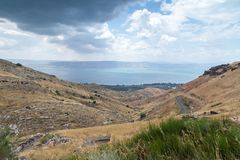 View from the ruins of the Greek - Roman  city of the 3rd century BC - the 8th century AD Hippus - Susita to Golan Heights, Israel. View from the ruins of the Royalty Free Stock Images