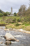 View of ruins of the high tower of Glendalough, Ireland Stock Image