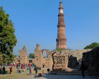 View of ruins of the historical complex Qutub Minar. Delhi. The highest minaret of  India in the historical complex Qutub Minar Stock Images