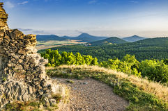 View from the Ruins of Kostalov Castle Royalty Free Stock Photos