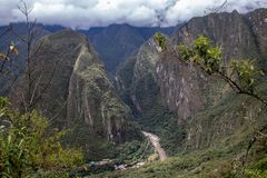 Looking Down From Machu Picchu. The view from the ruins of Machu Picchu, Peru stock photography