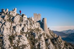 View of the ruins of the medieval castle of Rocca Calascio located in the vicinity of the Gran Sasso-symbols of Abruzzo. Set of the films Lady Hawke and In The stock photography