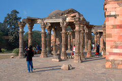 View of ruins of the Qutub Minar. Delhi. The Colonnade in ruins of the historical complex Qutub Minar Stock Images