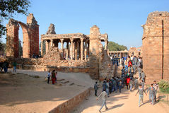 View of ruins of the Qutub Minar. Delhi. The Colonnade in ruins of the historical complex Qutub Minar Royalty Free Stock Image