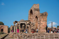 View of ruins of the Qutub Minar. Delhi. The ruins  in the historical complex Qutub Minar Stock Photography