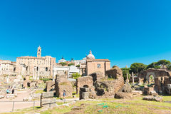 View of ruins of the Roman Forum in Rome,Italy Stock Photos