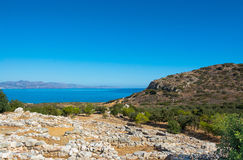 View of the ruins by the sea in Greece Royalty Free Stock Images