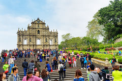View of the Ruins of St. Pauls Cathedral in Macau. Royalty Free Stock Image