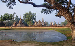View of the ruins in Sukhothai Historical Park royalty free stock photo