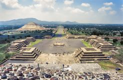 View of the ruins of Teotihuacan.The Avenue of the Dead and the. Pyramid of the sun seen from the pyramid of the moon royalty free stock photo