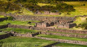 Ancient Tipon Ruins in Cusco Peru. View at the ruins of Tipon in Cusco Peru. Tourist attraction royalty free stock image