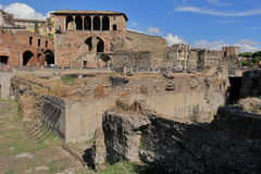View on ruins of the Trajan Forum in Rome, Italy Stock Photos