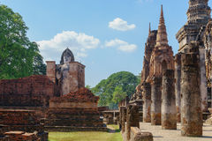 View of the ruins of Wat Mahathat in Sukhothai Historical park Royalty Free Stock Image