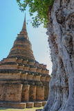 View of the ruins of Wat Mahathat in Sukhothai Historical park Stock Photo
