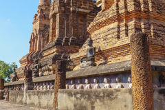 View of the ruins of Wat Mahathat in Sukhothai Historical park Royalty Free Stock Images
