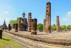 View of the ruins of Wat Mahathat in Sukhothai Historical park Stock Image