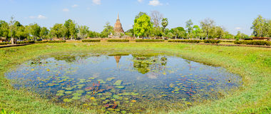 View of the ruins of Wat Mahathat in Sukhothai Historical park Royalty Free Stock Photography