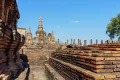 View of the ruins of Wat Mahathat Stock Photo