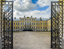 View on Rundale palace with metallic gate Latvia, Europe Royalty Free Stock Photo