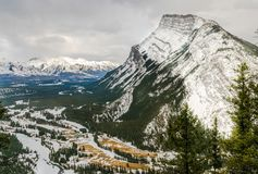View of Rundle mountain during the winter Royalty Free Stock Photo