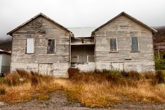 Old township of Gormaston Tasmania. View of rundown old weatherboard buildings in the township of Gormaston on the west coast of Tasmania, Australia royalty free stock photography