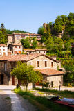 View of Rupit - Catalan village in Pyrenees Royalty Free Stock Photography