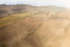 View of rural landscape in fog Stock Photography