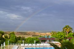 A view of a rural lanscape, swinnong pool and rainbow stock image
