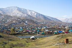 View of rural locality Onguday, Republic Altai Mountains Stock Images