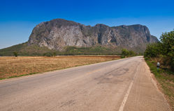 View of rural road and blue sky. At Sa Kaeo Province, Thailand Stock Photos