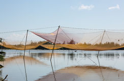 View of the rural scene with fishing nets in Hoi An, Vietnam Royalty Free Stock Images