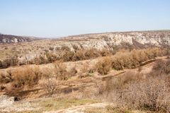 A view of the Rusenski Lom natural canyon near Russe, Bulgaria, Europe. View of the Rusenski Lom natural canyon in spring, near Russe, Bulgaria, Europe Royalty Free Stock Images