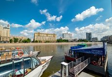 View of `Russian Federation government`  from Taras Shevchenko embankment. City the Moscow .view of `Russian Federation government` from Taras Shevchenko royalty free stock photography